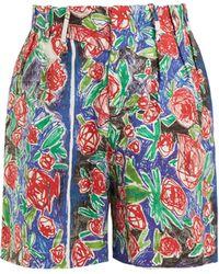 CHARLES JEFFREY LOVERBOY - Short en lin à imprimé rose effet crayonné - Lyst