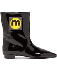 Miu Miu - Logo Patch Patent Leather Ankle Boots - Lyst