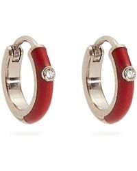Marc Alary - Diamond, Enamel & White-gold Plated Earrings - Lyst