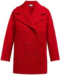 RED Valentino - Double Breasted Cotton Blend Coat - Lyst