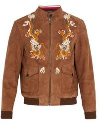 Gucci - Dragon-embroidery Suede Bomber Jacket - Lyst