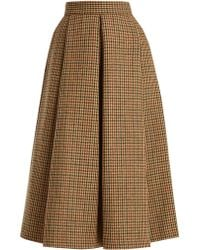 Luisa Beccaria | Hound's-tooth Checked Wool Midi Skirt | Lyst