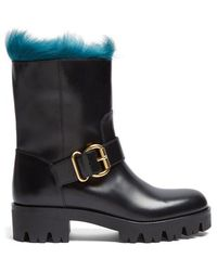 Prada - Fur-lined Leather Ankle Boots - Lyst