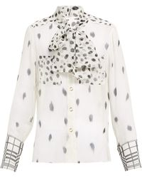 d2ea838d331010 Burberry - Pussy Bow Dalmatian Print Silk Blouse - Lyst