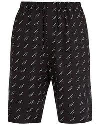 Balenciaga - Logo-print Cotton Shorts - Lyst