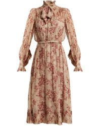 Zimmermann - Unbridled Floral Print Silk Chiffon Dress - Lyst