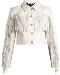 Diane von Furstenberg - - Cropped Fringed Leather Biker Jacket - Womens - White - Lyst