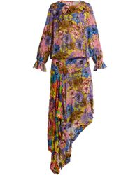 Preen By Thornton Bregazzi - Clara Floral Print Velvet Devoré Dress - Lyst