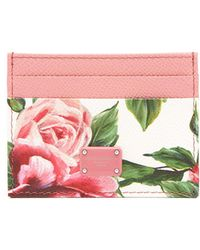 Dolce & Gabbana - Rose-print Leather Cardholder - Lyst