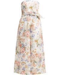 Zimmermann - Bowie Floral Print Linen Jumpsuit - Lyst