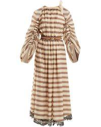 Fendi - Striped Cotton Blend Dress - Lyst