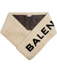 Balenciaga - Shearling Logo Scarf - Lyst