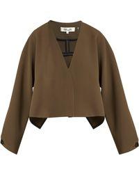 Diane von Furstenberg - V Neck Cropped Crepe Jacket - Lyst