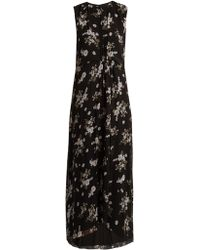 Vince - Floral-print Round-neck Silk-crepe Dress - Lyst