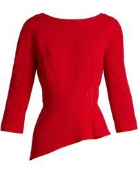 Lanvin - Asymmetric Peplum Wool Crepe Top - Lyst