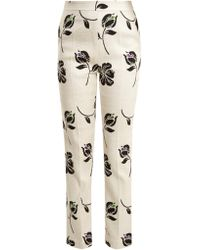 Huishan Zhang - Candice Floral-jacquard Straight-leg Trousers - Lyst