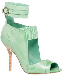Leon Max - Essay – Waxed Leather Ankle Wrap Cut Out Sandals - Lyst