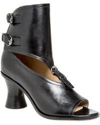 Leon Max - Wander : Burnished Leather Peep-toe Spindle Heels - Lyst