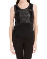 Max Studio - Stretch Velvet Top With Laser Cut Leatheretteâ - Lyst