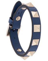 Valentino - Blue Leather Bracelet - Lyst