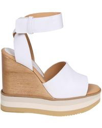 Paloma Barceló - White Leather Sandals - Lyst