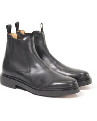 Santoni - Black Leather Ankle Boots - Lyst