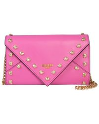 Moschino Mini Leather Shoulder Bag With Teddy Bear Studs