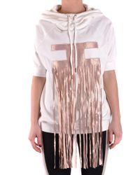 Elisabetta Franchi - White Cotton Sweatshirt - Lyst