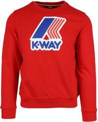 K-Way - Red Cotton Sweatshirt - Lyst