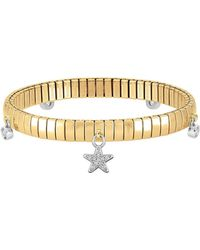 Nomination Stainless Steel Women's Bracelet W/stearling Silver Star And Cubic Zirconia
