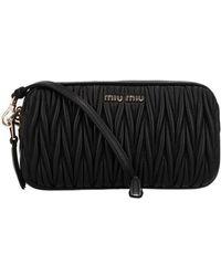 Miu Miu Matelassé Leather Shoulder Bag - Black