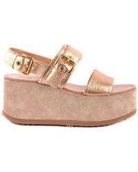 Car Shoe - Gold Leather Sandals - Lyst