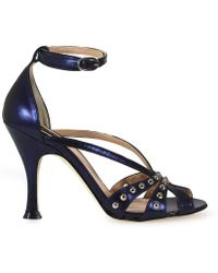 Pinko - Blue Leather Sandals - Lyst