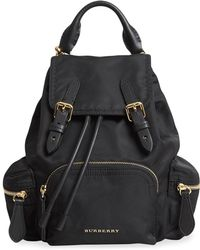 Burberry - Black Cotton Backpack - Lyst