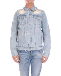 e0d2f965b1e3 MSGM Painted Floral Denim Jacket in Blue for Men - Lyst