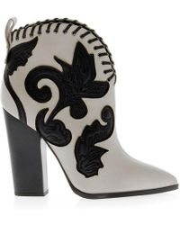 Greymer - White/black Leather Ankle Boots - Lyst