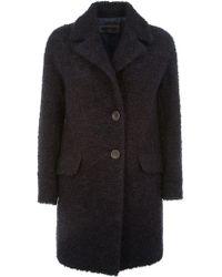 Peserico - Black Wool Coat - Lyst