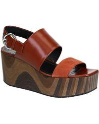 Céline - Brown Leather Wedges - Lyst