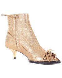 N°21 - Gold Fabric Ankle Boots - Lyst