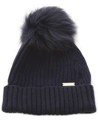 7341d9b9e3740 Woolrich Serenity Cable-Knit Wool Beanie Hat in Blue - Lyst