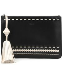 Tod's Black Leather Clutch