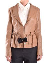 Elisabetta Franchi - Beige Leather Blazer - Lyst