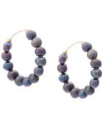 Trademark | Pearl Hoop Earrings | Lyst