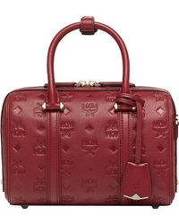 MCM - Essential Boston Bag In Monogram Leather - Lyst