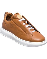 MCM - Men's Low Top Leather Trainers With Visetos Trim - Lyst