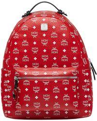 MCM - Stark Backpack In White Logo Visetos - Lyst