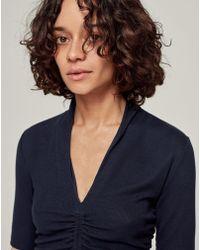 ME+EM - Ruched Detail V-neck Top - Lyst
