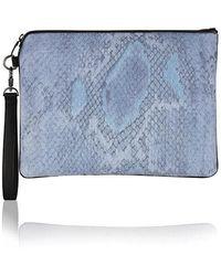 meli melo - Denim Snake Print Oversized Clutch Bag - Lyst