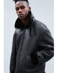 Mennace - Black Faux Fur Trim Flight Jacket - Lyst