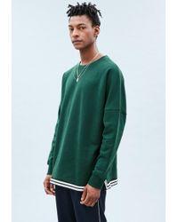 Mennace - Green Drop Shoulder Tape Hem Sweatshirt - Lyst
